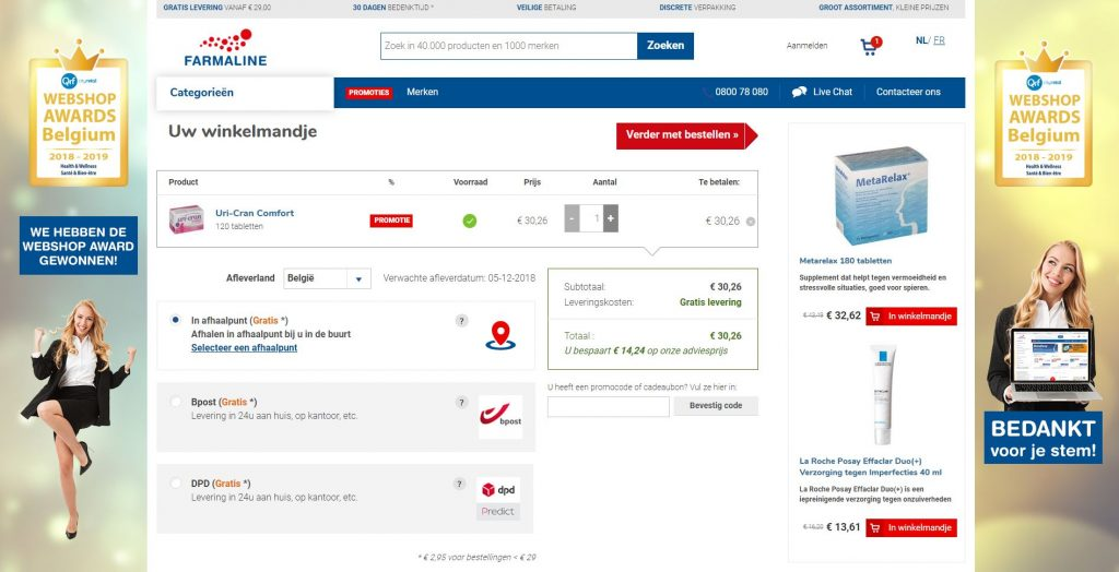 screenshot met veldje waar je je promo code voor pharmaline kan invullen