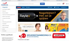 welkomstaanbieding met 5 euro korting bij farmaline