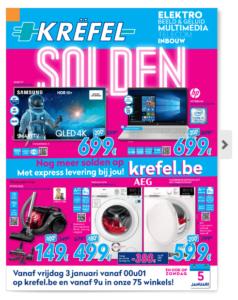 Je kan de solden van www.krefel ook online bekijken in hun folder
