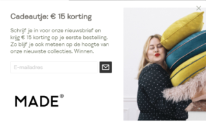 15 euro korting bij de Made nieuwsbrief